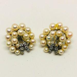 Vintage Very Old Faux Pearl Rhinestone Earrings
